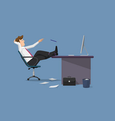 funny businessman relaxing between work vector image