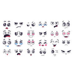 funny cartoon faces face expressions happy vector image