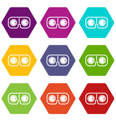 Game glasses icon set color hexahedron vector