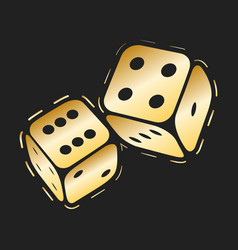 golden dices icon two gold game dice casino vector image
