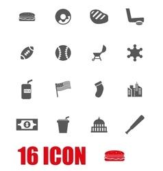 grey usa icon set vector image