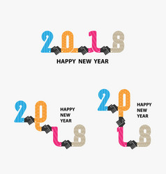 Handshake sign and happy new year 2018 vector