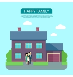 Happy Family in the Yard of Their House vector image