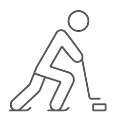 hockey player thin line icon sport and skate ice vector image