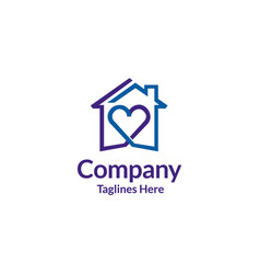 house and heart logo home care logo vector image