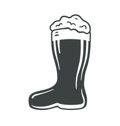 Icon beer boot with foam and bubbles in boot glass vector