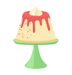 Jelly pudding on plate in flat style and whipped vector