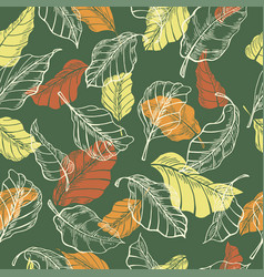 leaves seamless pattern sketch hand drawn vector image