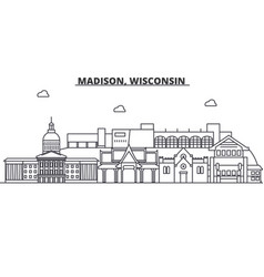 Madison wisconsin architecture line skyline vector
