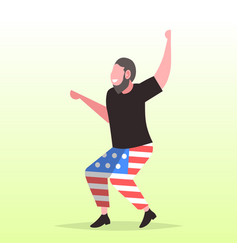 man in usa flag pants having fun 4th july vector image