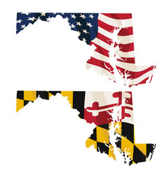 maryland with usa flag and maryland flag embedded vector image
