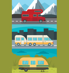 Motorhome trailer banner concept set flat style vector