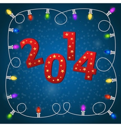 New Year card with colorful christmas garland vector image