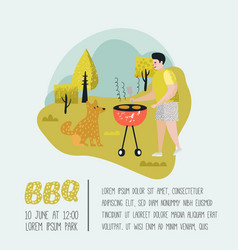park landscape with active people on bbq party vector image