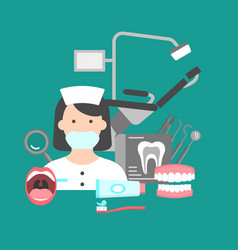 poster with icons of dental clinic services vector image