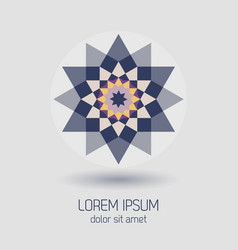 Purple geometrical flower design element icon vector