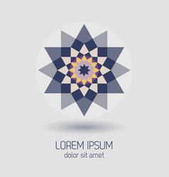 purple geometrical flower design element icon vector image