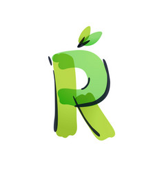 R letter ecology logo with green leaves vector