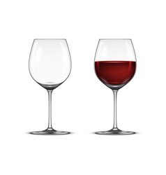 Realistic wineglass icon set - empty and vector