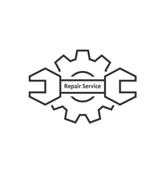 Repair service with thin line wrench and gear vector