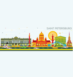 saint petersburg skyline with color buildings vector image