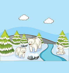 scene with polar bears in snow mountain vector image
