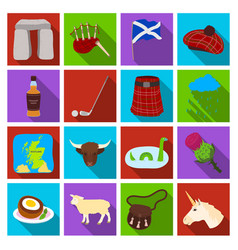 scotland country set icons in flat style big vector image