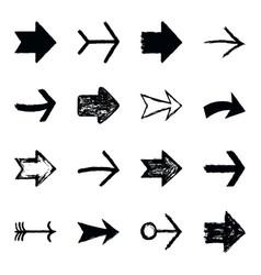 Set arrow sign black texture paint vector