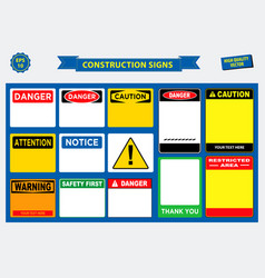 set of construction sign template vector image