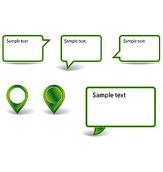 Set of green pointers on white background with vector image