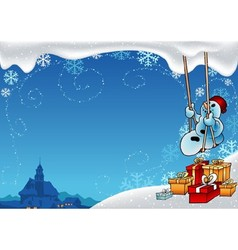 Snowman And Swing vector image