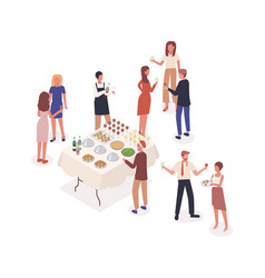 Social event stand-up meal isometric vector