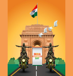 Soldiers ride with india independence day banner vector