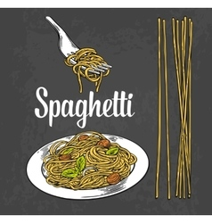 Spaghetti on fork and plate engraving vector image