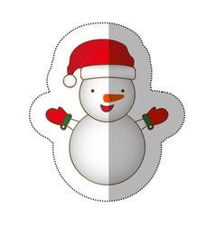 sticker colorful silhouette cartoon snowman vector image