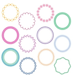 Stitched circle frames vector