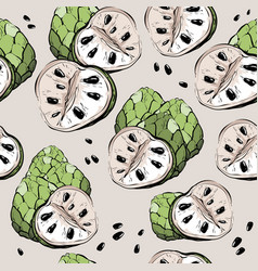 sugar apple seamless pattern sketch style vector image