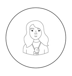 Television reporter icon in outline style isolated vector