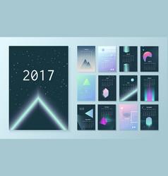 Template futuristic calendar for 2017 vector