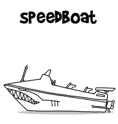 Transport of speedboat hand draw vector