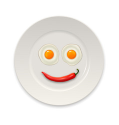 two realistic fried eggs and red hot chili pepper vector image