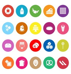 Variety bakery flat icons on white background vector image