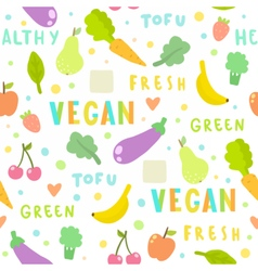 Vegan fruits and vegetables Seamless pattern vector