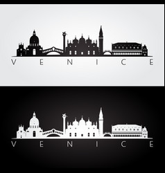 Venice skyline and landmarks silhouette vector