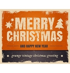 vintage orange style merry christmas and happy new vector image