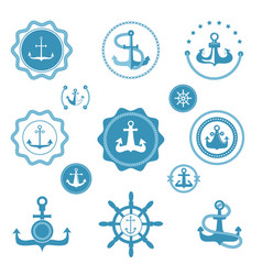 vintage retro anchor icons and label sign vector image
