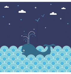 whale seascape vector image