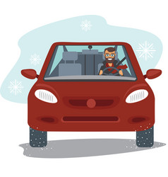 young man driving red car vector image