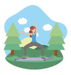 Young woman exercising cartoon vector