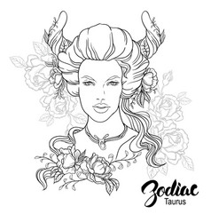 zodiac of taurus as girl with vector image